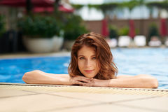 Woman in pool Stock Images