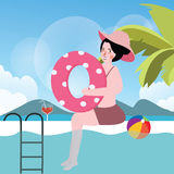 Woman in pool with ball summer vacation swimming. Vector Royalty Free Illustration