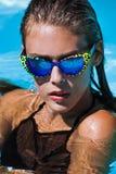 Woman at pool Royalty Free Stock Image