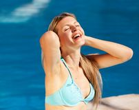 Woman Pool Relax Stock Images