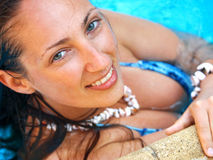 Woman at the pool. Shot from above Royalty Free Stock Image