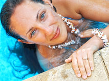 Woman at the pool. Shot from above Royalty Free Stock Photos