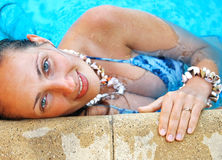 Woman at the pool. Shot from below Royalty Free Stock Images