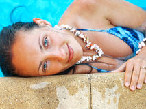 Woman in pool Royalty Free Stock Image