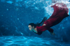 Woman in the pool underwater. Stock Images