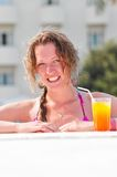 Woman at poolside Royalty Free Stock Images