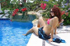 Woman Poolside Royalty Free Stock Photos