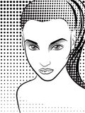 Woman in the pop art comics style. Halftone. Woman in the pop art comics style. Vector stock illustration