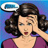 Woman in pop art retro comic style. Girl Oh emotional reaction speech bubble Stock Photography