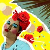 Woman in pop art style and tropic palm leaves. Trendy zine collage, fashion print, poster.  royalty free stock image