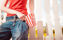 Woman with popcorn Royalty Free Stock Images