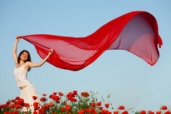 Woman in poppy field Royalty Free Stock Images