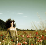 Woman in a poppy field Royalty Free Stock Photography