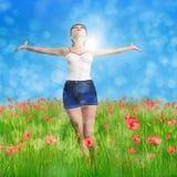 Woman in poppy field stock illustration