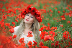 Woman and Poppy Flowers Royalty Free Stock Photo