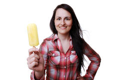 Woman with popsicle Royalty Free Stock Photo