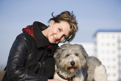 Woman portait with dog Royalty Free Stock Photography