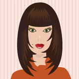 Woman portrait. Portrait of a beautiful attractive girl stock illustration