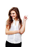 Woman portrait. Picture of attractive young woman with her finger up Royalty Free Stock Images