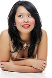 Woman portrait. Asian lady wearing makeup looking happy and smiling Stock Images