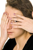 Woman portrait. Woman's portrait from hands near face Royalty Free Stock Photo