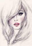 Woman portrait .abstract watercolor .fashion background Stock Photos