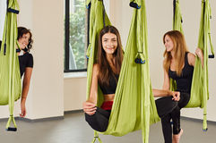 Woman portrait in anti-gravity yoga aerial Royalty Free Stock Images