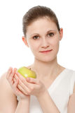 Woman portrait with apple Royalty Free Stock Photography