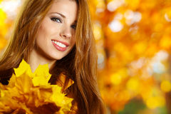 Woman portrait in autumn color Royalty Free Stock Photo