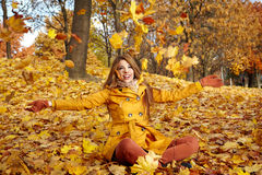 Woman portrait in autumn color Stock Photos