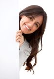 Woman portrait with banner Stock Images