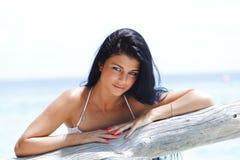 Woman portrait on beach Stock Photos