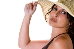 Woman portrait with beach hat Royalty Free Stock Images