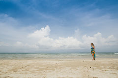 Woman portrait beautiful beach. Woman portrait in desert beach with white sand clear blue sky background stock images