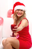 Woman portrait. Beautiful girl hold wine glass. Royalty Free Stock Image