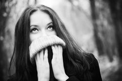 Woman portrait with big woollen collar. For cold weather. Black and white concept Stock Photography