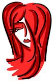 Woman portrait in black and red isolated Royalty Free Stock Images