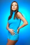Woman portrait on Blue Royalty Free Stock Photos