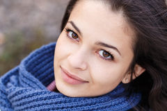 Woman portrait blue scarf Royalty Free Stock Photos