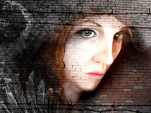 Woman portrait on bricks Stock Photo