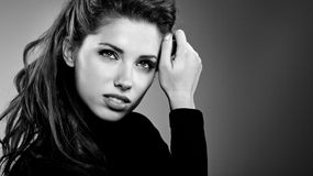 Woman portrait, bw. Beautiful young woman portrait, bw Stock Photos
