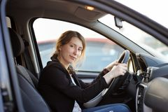 Woman portrait in a car Royalty Free Stock Image