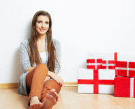Woman portrait in christmas style with red, white box gift Royalty Free Stock Photos