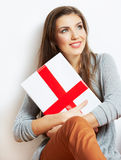 Woman portrait in christmas style with red, white box gift Royalty Free Stock Image