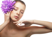Woman portrait with chrysanthemum. Spa treatment. Stock Photography
