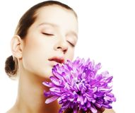 Woman portrait with chrysanthemum. Spa treatment. Stock Images