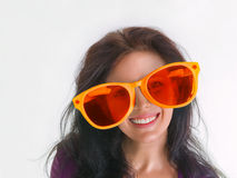 Woman portrait in crazy glasses Royalty Free Stock Images