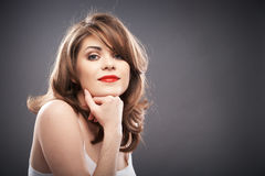 Woman portrait with curler hair Royalty Free Stock Photos