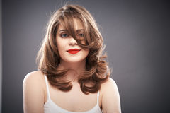 Woman portrait with curler hair Royalty Free Stock Photography