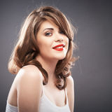 Woman portrait with curler hair Stock Images